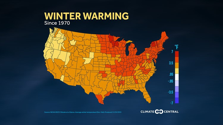 United States winter warming