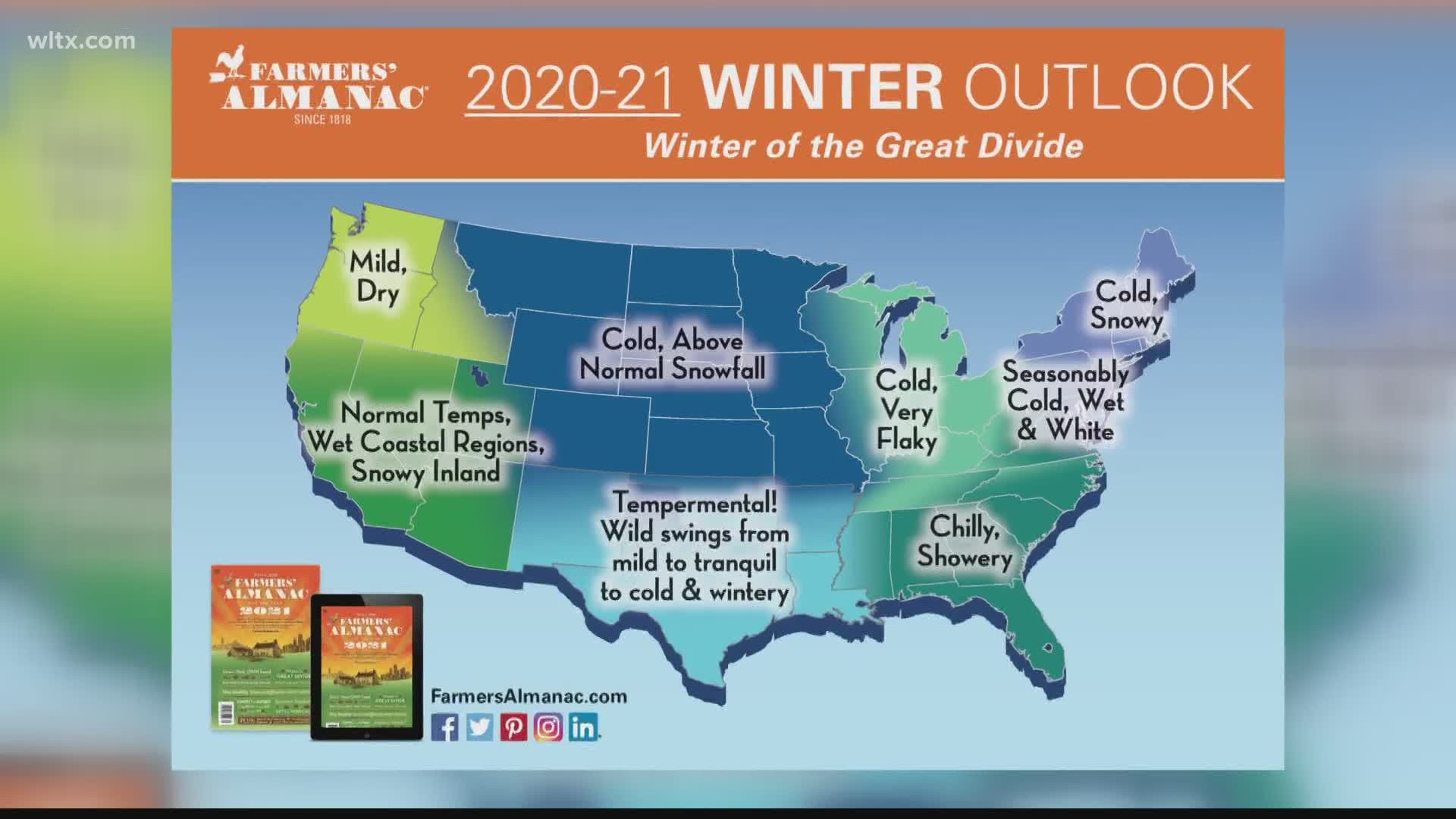 Farmers Almanac White Christmas 2020 Farmers Almanac predicts 'Winter of Great Divide' for America