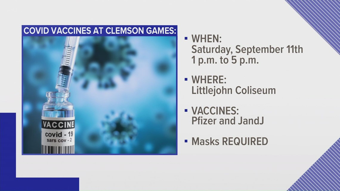 Clemson to offer COVID vaccine clinic at home football games