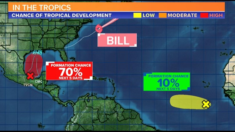Three areas of interest in the Tropics