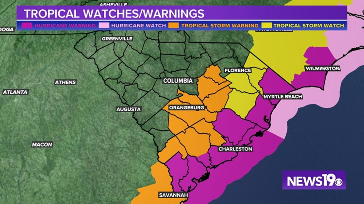 Dorian Watches and Warnings Tues 5 pm