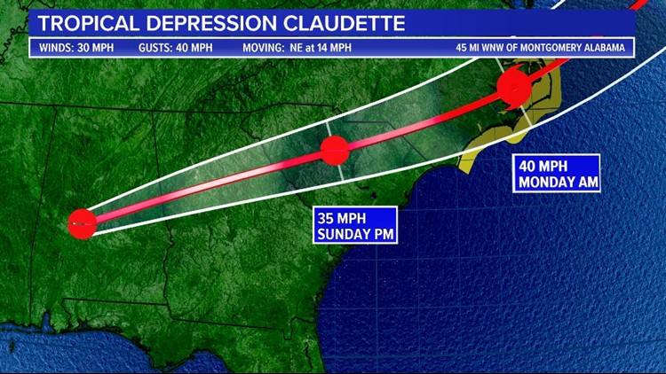 Claudette to bring rain, strong storms to South Carolina today
