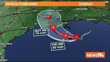 Tropical Storm Barry forms in the Gulf of Mexico, expected to strike Louisiana