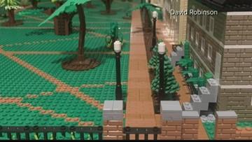 USC horseshoe made with 10,000 Legos