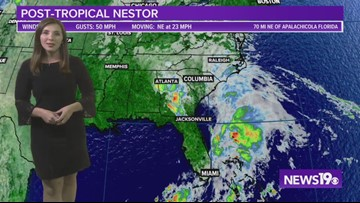 Saturday evening update on Post-Tropical Storm Nestor 10/19/19