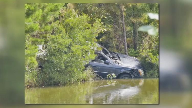 Burned vehicle found near wooded area