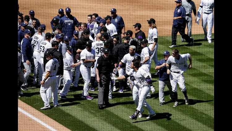 Arenado one of five ejected in Rockies-Padres brawl