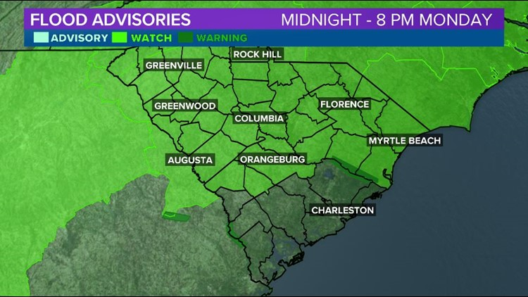 Watch for the Midlands There will be the potential for some flash flooding Monday across