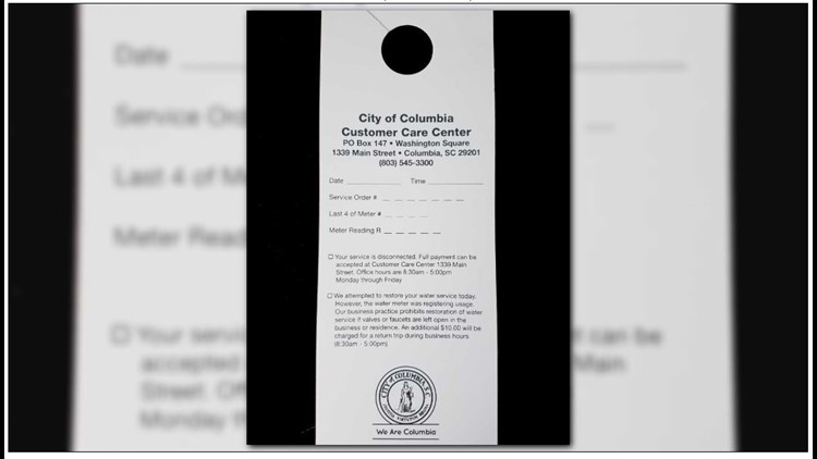 According to Columbia Water a misleading service shut-off notification is being hung on customers doors