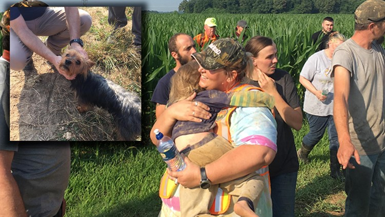 Missing 3-year-old found in cornfield, dog at her side