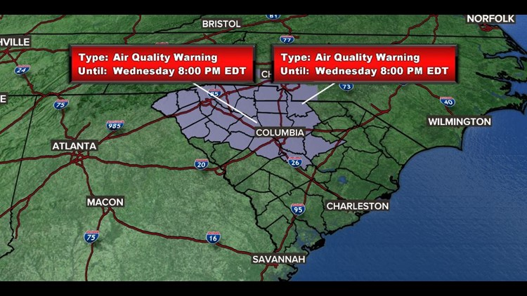 Air quality warning in effect for The Midlands as ozone levels will be elevated throughout the day.