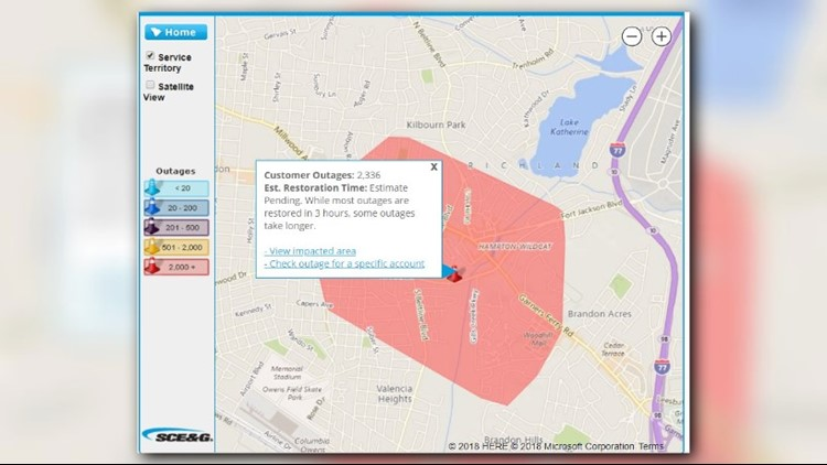 Brief Richland Power Outage Affects Thousands   wltx.com on national grid power outages, southern california edison power outages, consumers energy power outages,