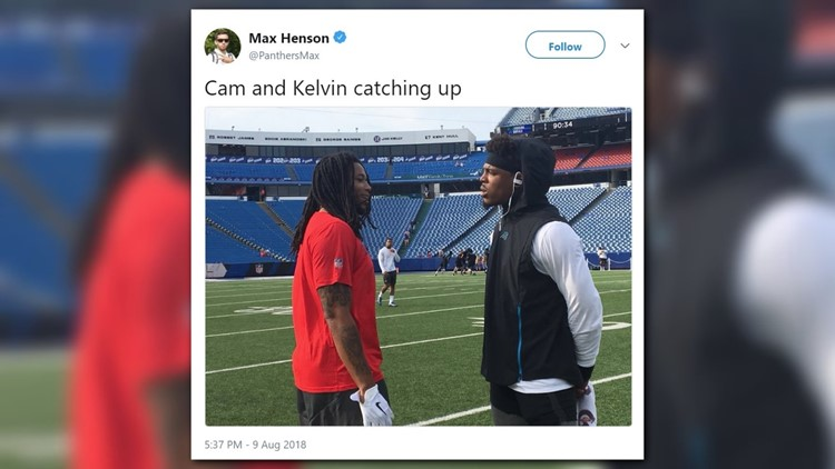 Bills receiver Kelvin Benjamin's feud with former teammate Panthers quarterback Cam Newton continued before and during Carolina's preseason-opening 28-23 win against Buffalo on Thursday night.