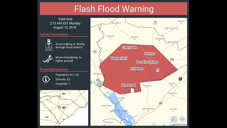 The National Weather Service in Columbia has issued a Flash Flood Warning for Sumter County until 2:15 a.m.