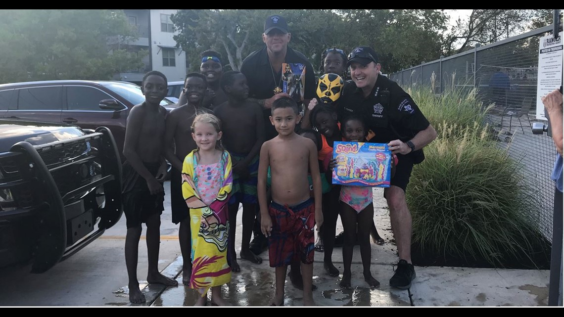 WWE Wrestler 'Goldust,' Wilco Sheriff Chody Surprise Texas Girl with Autism on H...