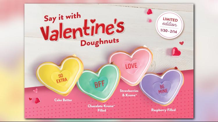 Krispy Kreme Conversation Heart Doughnuts