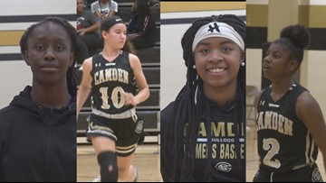 Camden High varsity girls basketball team has four middle school students on roster
