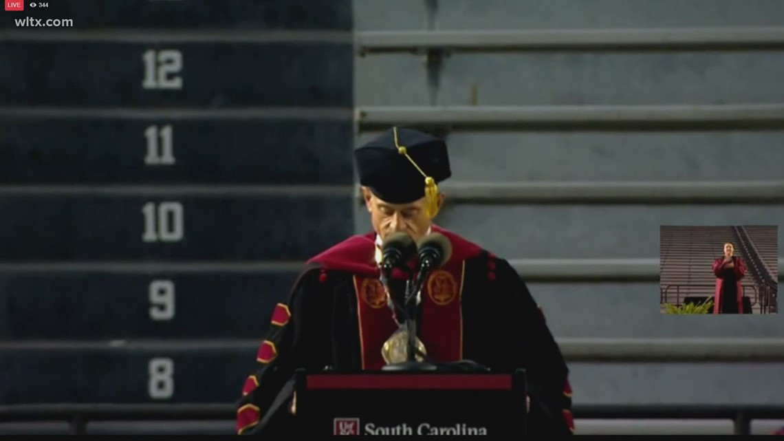 South Carolina university president mistakes name of his own college during graduation