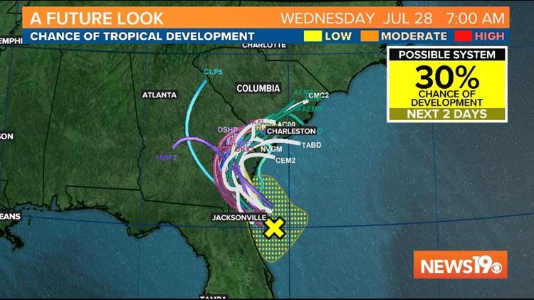 Tropical disturbance will bring heavy rain to South Carolina this week