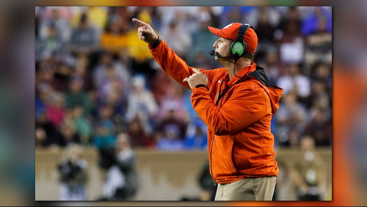 Clemson's Dabo Swinney is one of 17 head coaches who are on the midseason watch list for the Bobby Dodd Trophy.