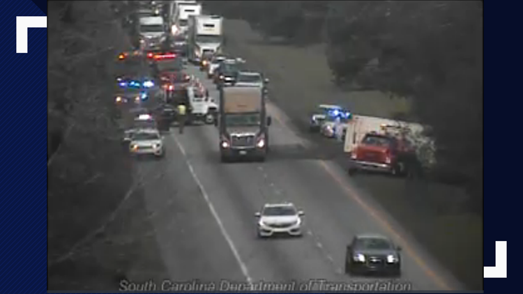 Overturned truck backs up traffic on Interstate 26 in Orangeburg County