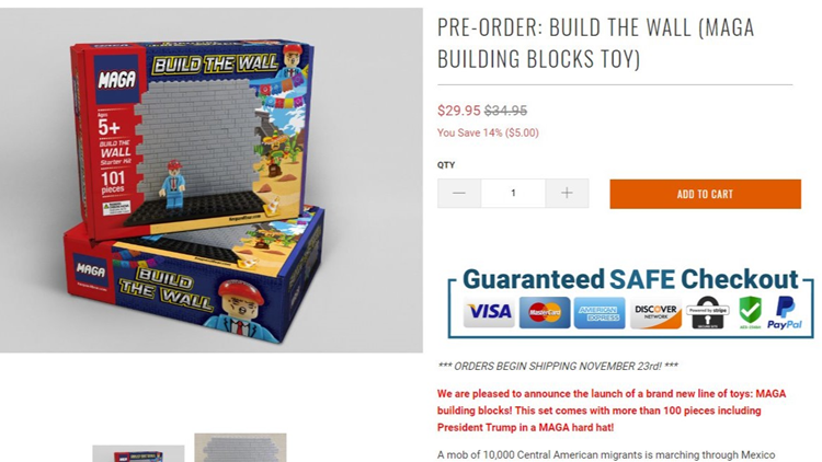 Website selling 'Build the Wall' toy set for kids