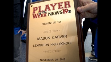 Mason Carver is the player of the week