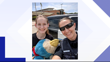 All smiles! Girl reunited with lost childhood stuffed animal in Lexington