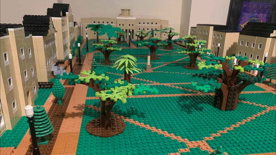 Dad, son build USC Horseshoe with 10,000 Legos