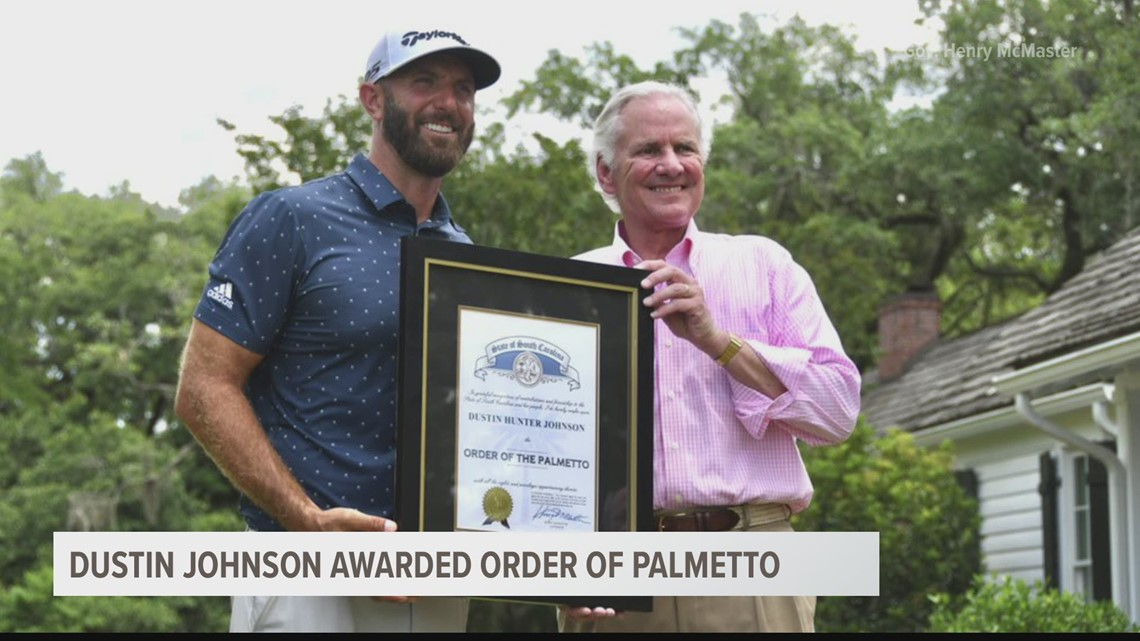 PGA star Dustin Johnson awarded South Carolina's highest honor