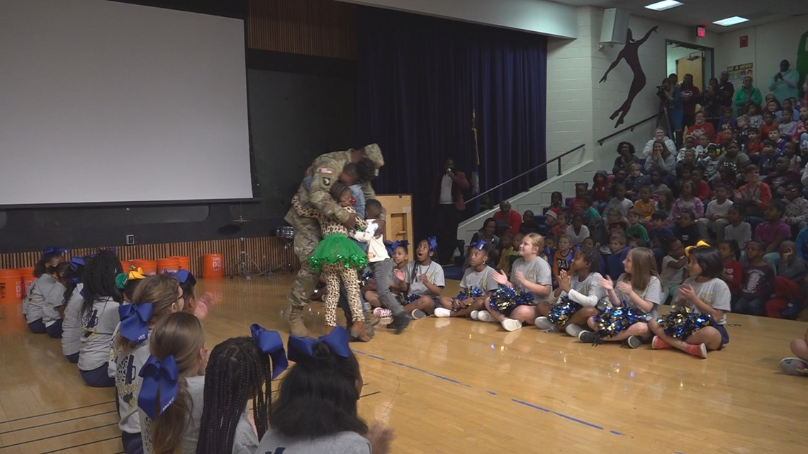 SC military father surprises his children at school for Christmas