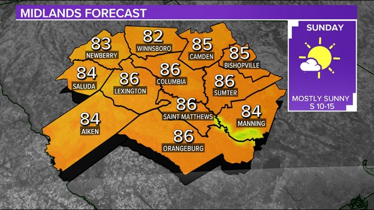 Mostly sunny, very warm Mother's Day