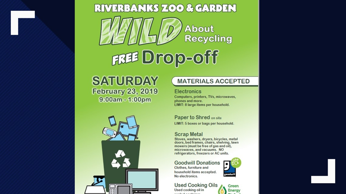 Drop off recycling event at Riverbanks Zoo