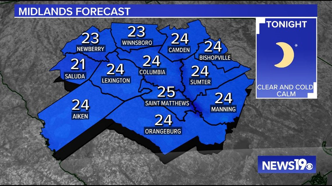 Another chilly night across the Midlands, a bit warmer Sunday afternoon