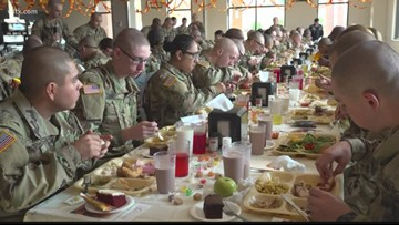 Thanksgiving meal warms the hearts of soldiers at Fort Jackson