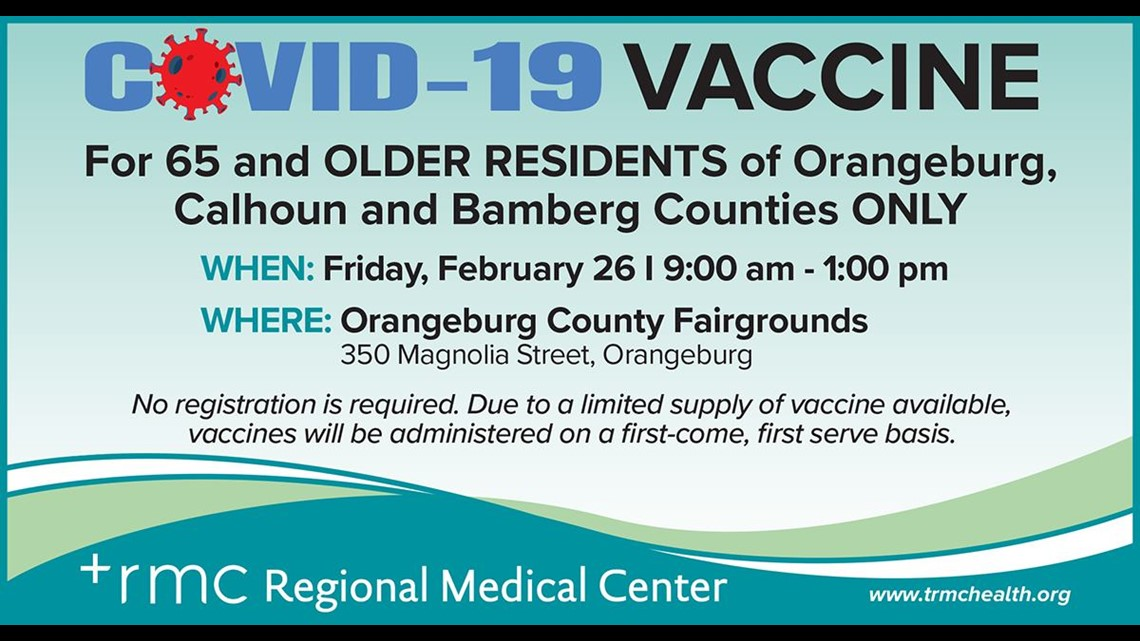 No appointment COVID-19 vaccines offered at Orangeburg County Fairgrounds