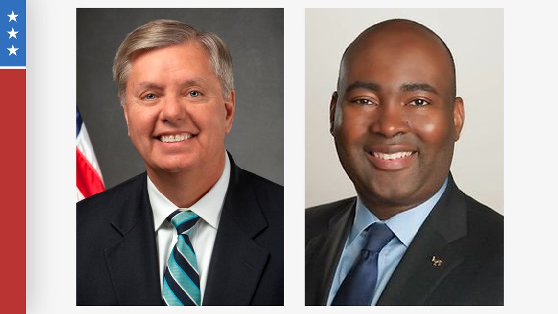 Senator Lindsey Graham, Jaime Harrison rally supporters right before Election Day
