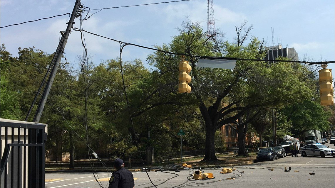 Downed power lines close part of Sumter Street in downtown Columbia