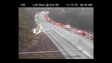 I-20 West at Augusta Road reopens, was shut down due to black ice