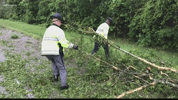 Trees and debris covering I-26 after thunder storms
