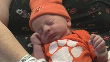 First baby born on game day receives Clemson onesie from hospital