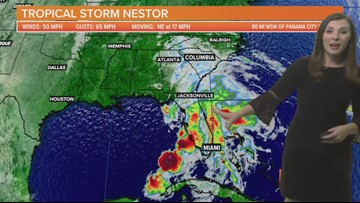 Tropical Storm Nestor update Saturday 10/19/19