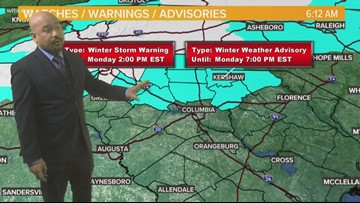 Monday AM Forecast: winter weather advisory in effect