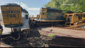 Train derails after crash with 18-wheeler in Calhoun County