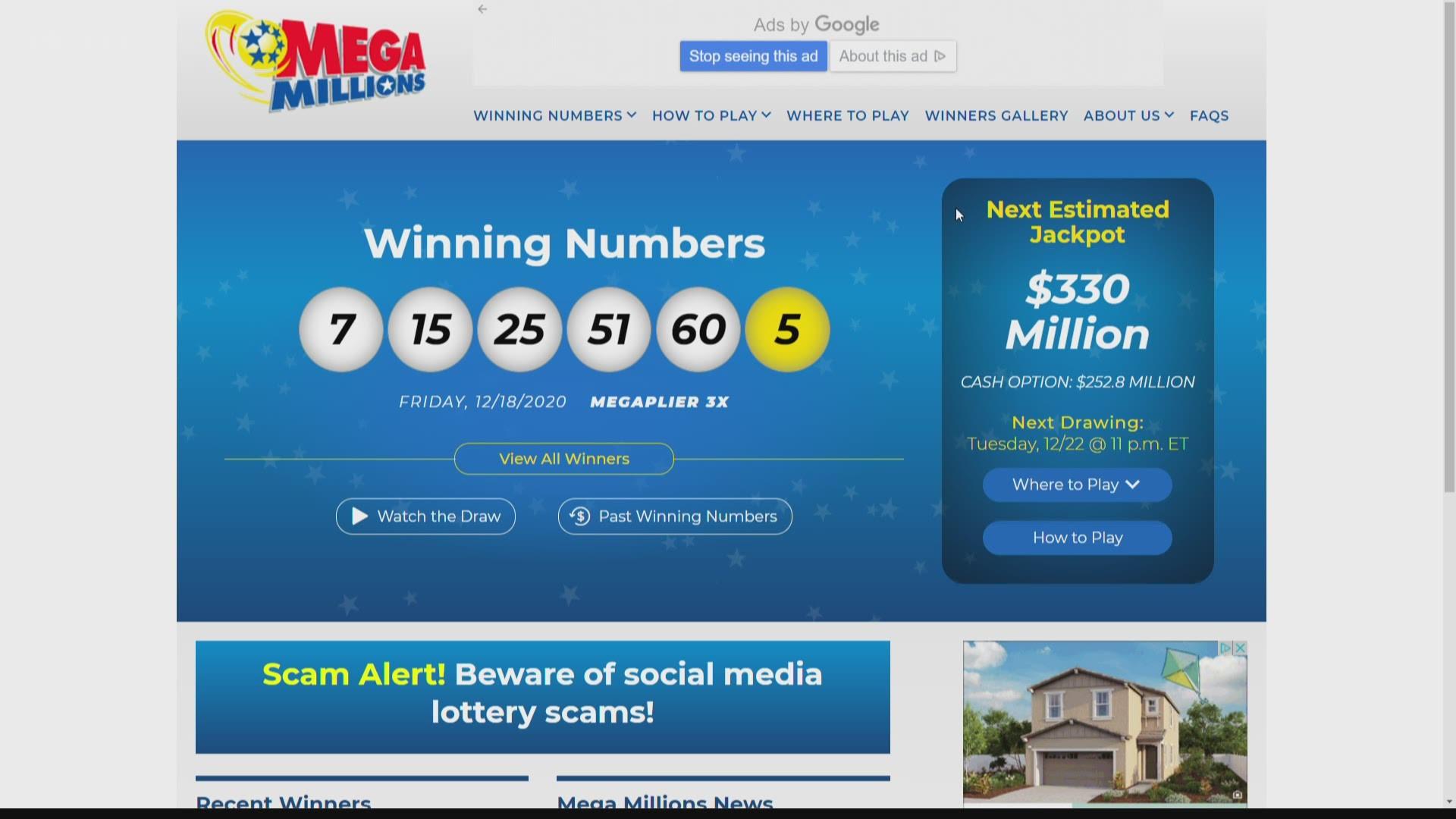 Mega Millions Powerball Jackpots Both Over 300 Million Wltx Com