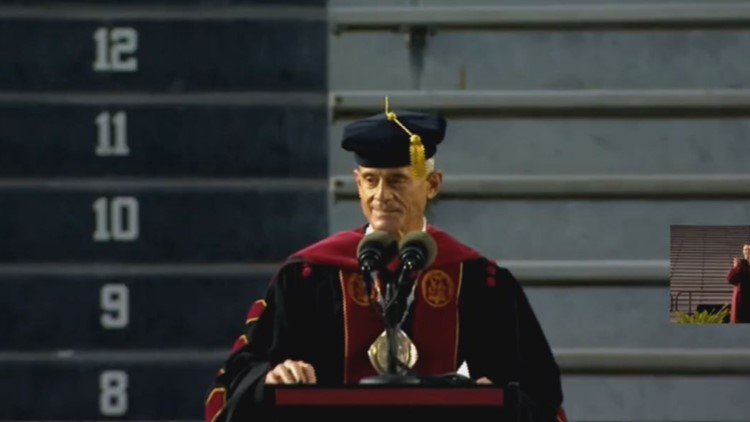 USC president promises grads push-ups after saying