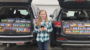 S.C. 4th Grader donates over 1500 cans to Harvest Hope on Giving Tuesday