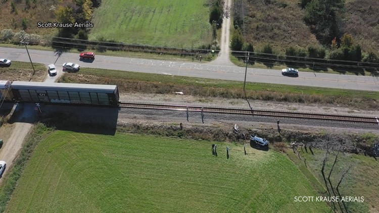 Chapin train crash aerial view