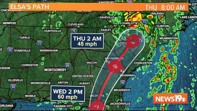 Elsa se mueve hacia el interior, aún se pronostican fuertes lluvias para Carolina del Sur