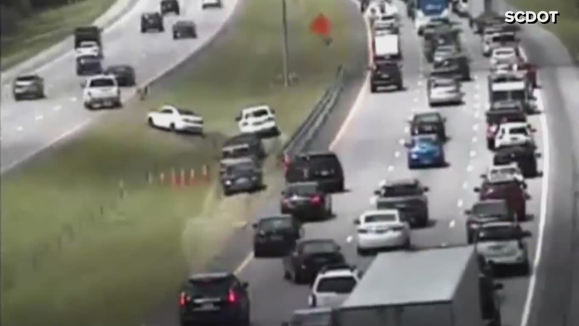 Drivers cross median during South Carolina lane reversals